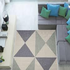 Easy To Clean Outdoor Rug Blue Beige Non Slip Flatweave Geometric Area Rugs Easy Clean