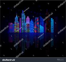 Colorful City Colorful City Panorama Cityscape Night Vector Stock Vector
