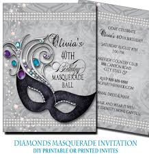 diamond 40th birthday masquerade party invitation