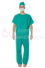 surgeon doctor mens medical scrubs fancy dress halloween costume