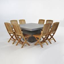 8 Chairs Dining Set Outdoor Dining Set Square Concrete Table With 8 Chairs Teak