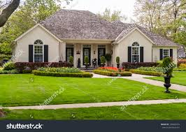 one storey house lawn nice landscaping stock photo 194800733