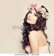 hair makeup beauty fashion portrait beautiful woman curly stock photo