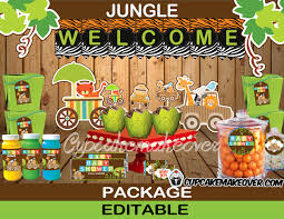 jungle animals baby shower package instant download