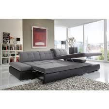 Black Leather Sectional Sofa Alpine Sectional Sofa In Grey Fabric And Black Leather Right Chaise