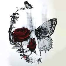 skull butterfly and design color tag tattoos