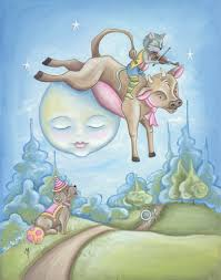 the cow jumped over the moon print children u0027s wall art