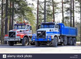 volvo heavy duty trucks raseborg finland april 8 2017 two classic conventional volvo