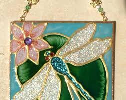 dragonfly stained glass suncatcher garden window decor