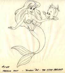 ariel porcelain doll drawing flounder mermaid 1989