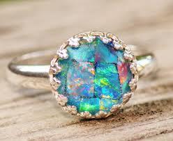 sterling gem rings images Genuine australian opal ringmosaic opal triplet ringsterling jpg