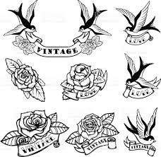 set of tattoo templates with swallows and roses old tattoo