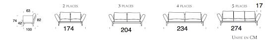canap 5 place canapé mira 2 à 5 places personnalisable avec accoudoirs inclinables