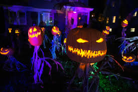 halloween jack o u0027lantern king and his scarecrow minions make