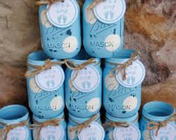 jar centerpieces for baby shower jar baby boy shower centerpieces blue and white polka