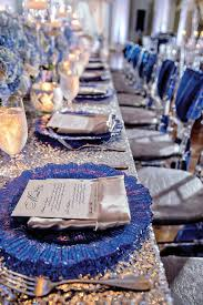 blue and silver wedding blue and silver place setting reception and