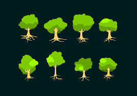 flat tree with roots free vector free vector stock
