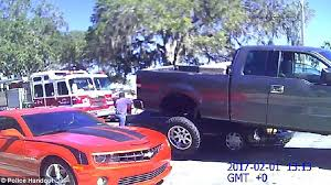 Old Ford Trucks Pictures - florida man drives his ford f 150 onto a toyota camry to protect