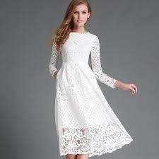 white dress 2017 fashion lace dress with sleeve elegante