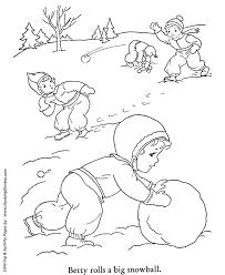 winter coloring kids making snowballs coloring honkingdonkey