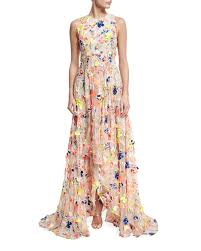 jason wu flocked high low silk gown in natural lyst
