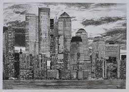 a recent drawing i did new york skyline fineliner pens