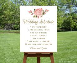 Order Wedding Programs Printable Wedding Schedule Sign Custom Wedding Program Sign