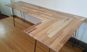 Used L Shaped Desk I Made L Shaped Desk 6 Out Of Scrap Wood And Used Hairpin Legs