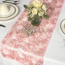 Blush Pink Satin Rosette Table Runner Floratouch