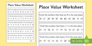 place value activity sheet 2 digits place value worksheet 2
