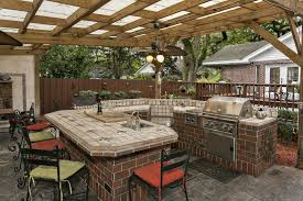 Outdoor Kitchen Covered Patio Traditional Space With Outdoor Kitchen U0026 Partial Brick Exterior In