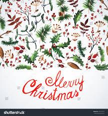 Christmas Cards Invitations Greeting Card Christmas Plants Watercolor Christmas Stock Vector