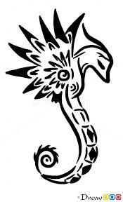 how to draw seahorse tattoo designs