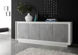Buffet bahut design laqué blanc mat gris béton Rosine Bahut