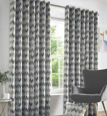 Heavy Grey Curtains Chevron Silver Luxury Style Eyelet Ready Made Curtains