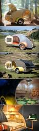 it looks like a vintage teardrop camping trailer but open it up