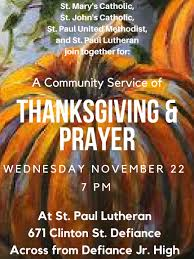 a community service of thanksgiving prayer st paul lutheran church