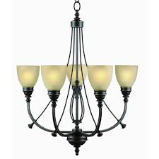 Commercial Chandeliers Commercial Electric 5 Light Bronze Chandelier With Tea Stained
