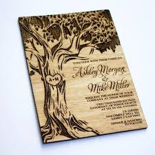 wood wedding invitations sample oak tree wooden wedding invitation real wood laser
