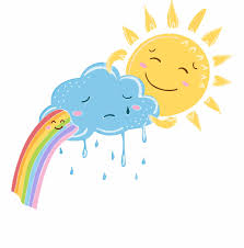 Rainbow and sun cheer up sad cloud illustration Cute cartoon happy