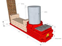 rocket mass heater built with bricks and rock blocks stove