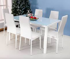 glass top dining table set 6 chairs merax 7pc glass top dining set 6 person dining table and chairs set