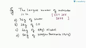 iit jee problems on mole molar mass avagodro u0027s number u0026 volume