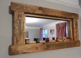 chunky rustic reclaimed wooden mirror tea light shelf wall