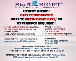 Jobs Hiring No Resume Needed Care Coordinator Open To Fresh Grads No Work Experience Required