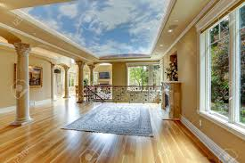 Interior Home Columns Empty Living Room With Glass Ceiling And Columns Stock Photo