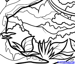 drawing landscapes for kids how to draw a jungle for kids step by