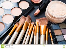 professional makeup brushes and tools make up products set stock