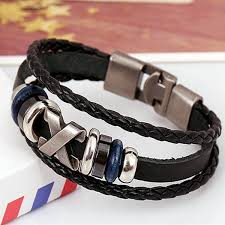 man wrist bracelet images Handmade multilayer braided leather bracelet wristband for men jpg