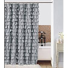 Ruffled Shower Curtains Waterfall Silver Ruffled Shower Curtain Home Kitchen